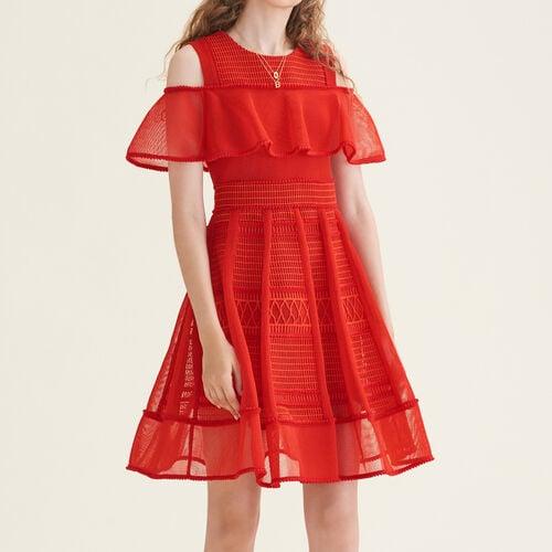 Ärmelloses Kleid aus Netzstrick : Kleider farbe Rot