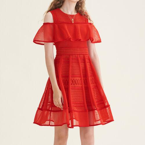 Ärmelloses Kleid aus Netzstrick : Robes farbe Rot