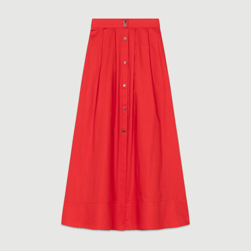 Langer geknöpfter Baumwollrock : Röcke & Shorts farbe Rot