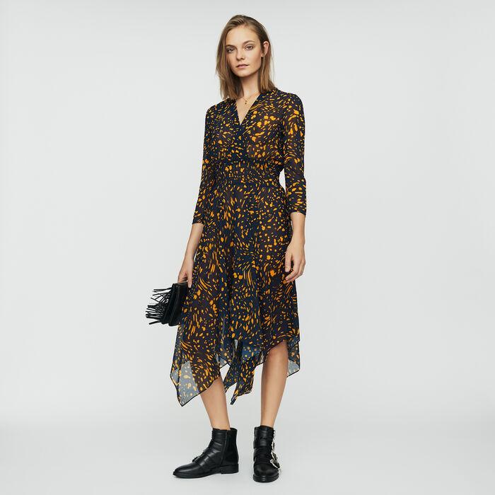 Asymmetrisches bedrucktes Kleid : Kleider farbe IMPRIME