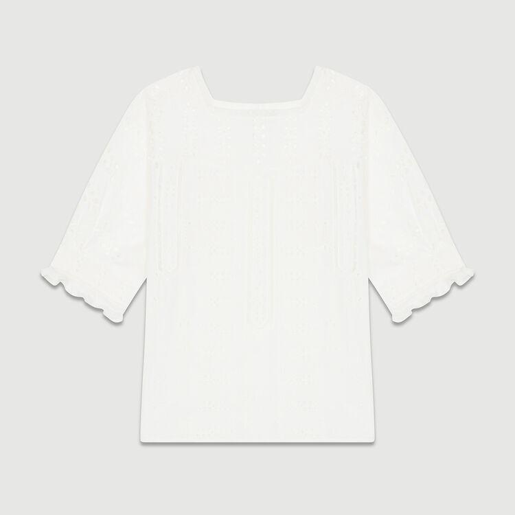 Besticktes Baumwoll-Top : Tops farbe Weiss