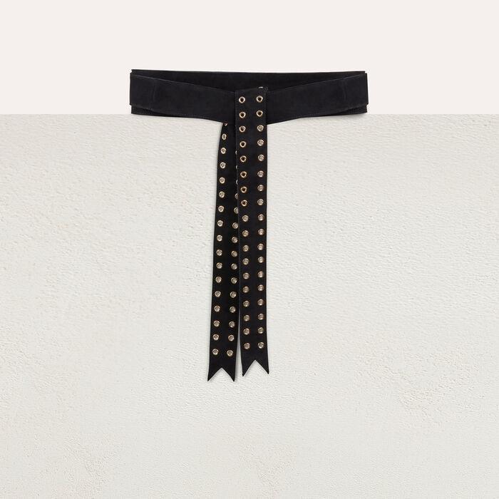 Ledergürtel mit Ösen : Gürtel farbe Schwarz