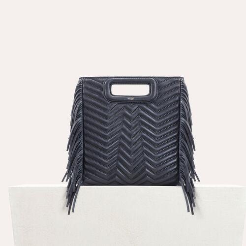 M Tasche aus gestepptem Leder : M Tasche farbe Marineblau