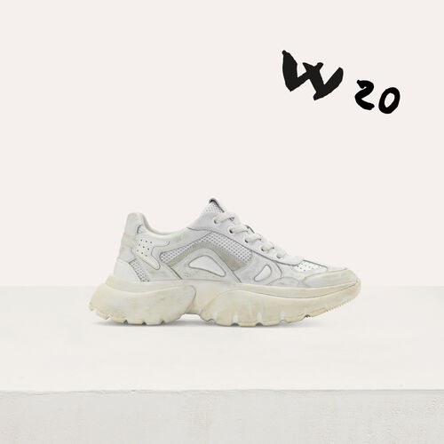 W20 Ledersneaker im Used-Look : Sneakers farbe Weiss