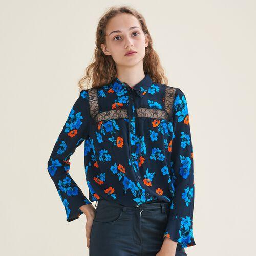 Bedruckte Hemdbluse mit Spitze : Hemden farbe IMPRIME