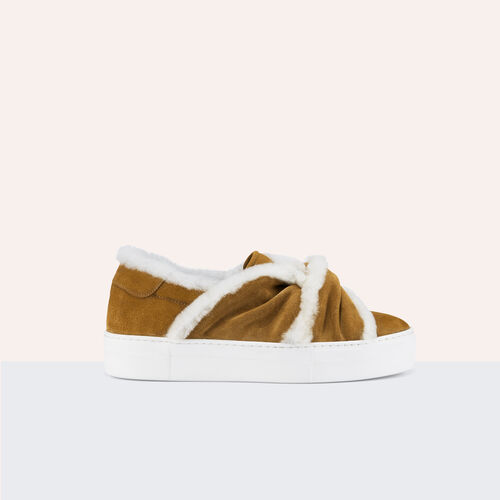Sneaker aus Veloursleder mit Schleife : Schuhe farbe Camel