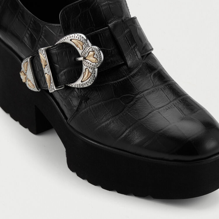 Leather derby shoes with buckle : Neue Kollektion farbe Schwarz