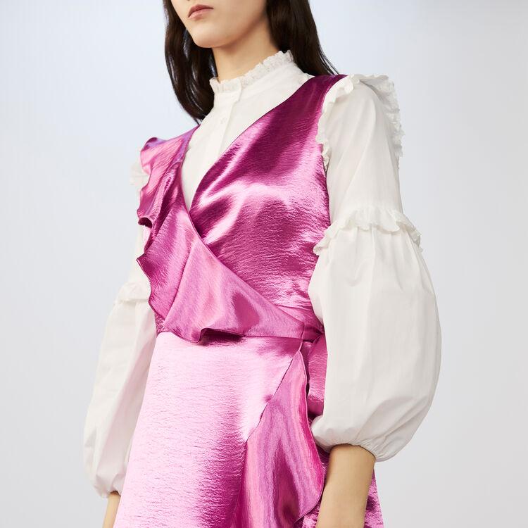 Ärmelloses seidiges Wickelkleid : Kleider farbe Fuchsiafarben