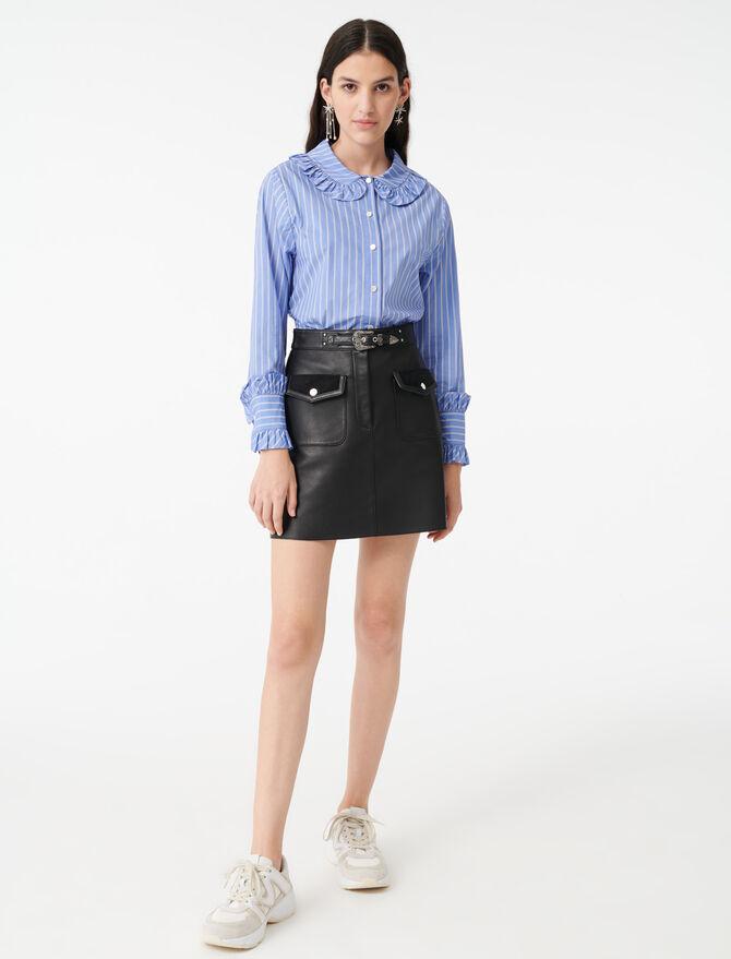 Gestreiftes Hemd mit Halskrause-Kragen - Tops & Hemden - MAJE