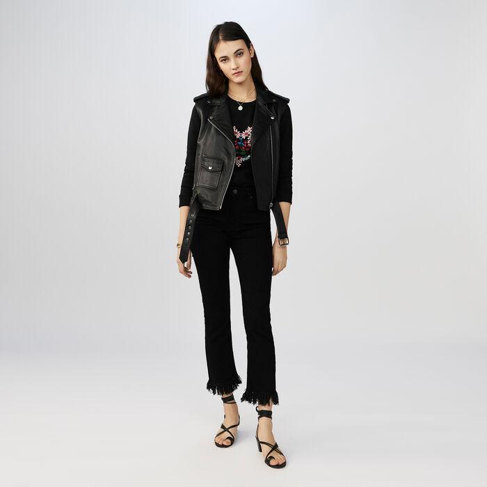 7/8-Jeans mit Fransenabschluss : Jeans farbe Schwarz