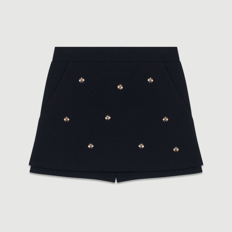 Short-Rock aus Krepp mit Bienen : Röcke & Shorts farbe Schwarz