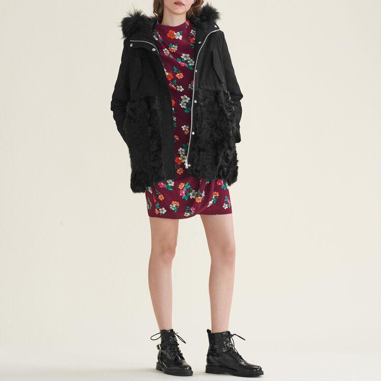 Parka aus Baumwolle und Lammfell : Manteaux farbe Schwarz