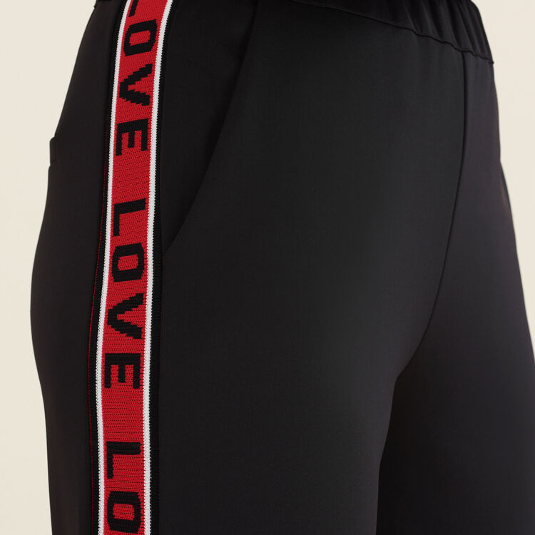 Satinhose mit Streifen : Hosen farbe Schwarz