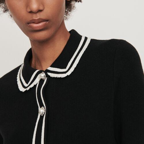 Polo mit konstrastierendem Schmuck : Pullover & Strickjacken farbe Schwarz