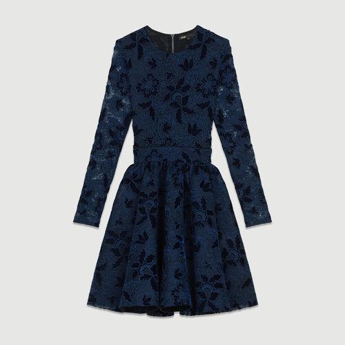 Skaterkleid mit langen Ärmeln : Kleider farbe Marineblau