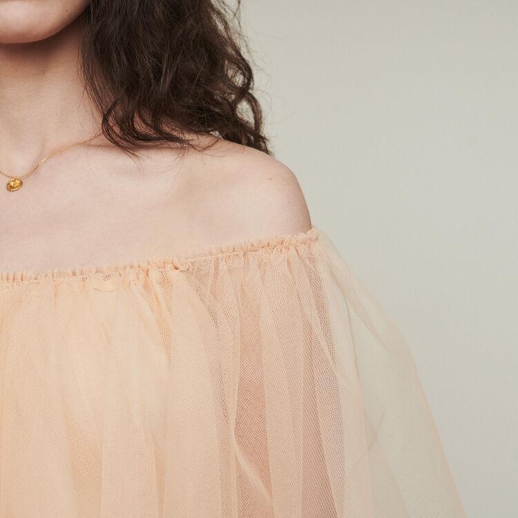 Schulterfreies Kleid aus Tüll : Kleider farbe Mandarine
