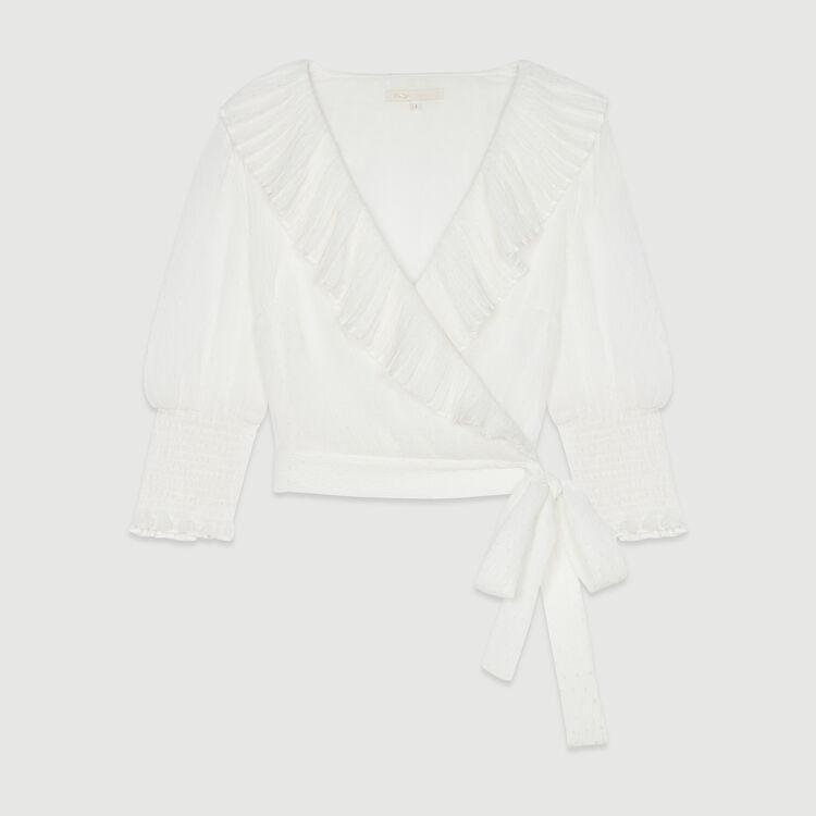 Kurzes Plumetis Top mit Rüschen : Tops & Hemden farbe Weiss