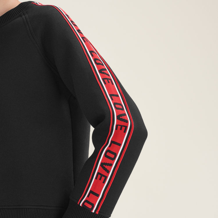 Sweatshirt aus Neopren mit Streifen : Sweatshirts farbe Schwarz