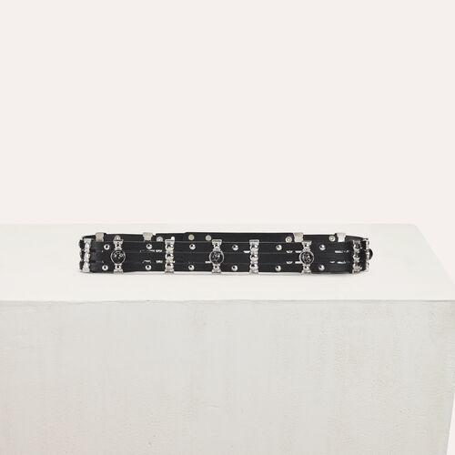 High-Waist-Gürtel aus Leder und Metall : Gürtel farbe Schwarz