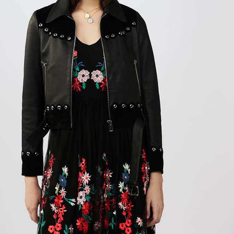 Kurze Jacke aus Leder und Velours : Jacken farbe Schwarz