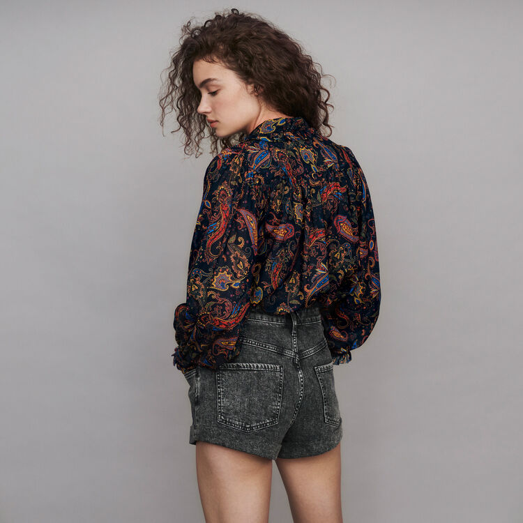 Bedruckte Baumwoll Bluse : Tops & Hemden farbe Marineblau