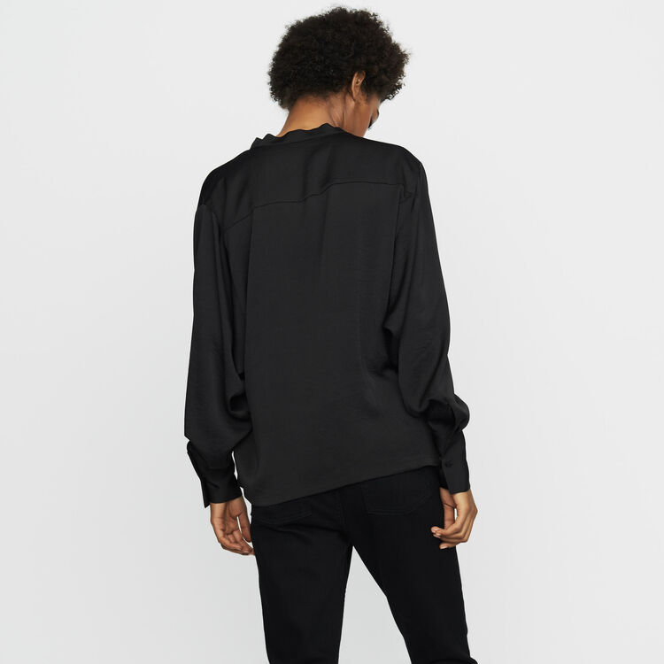 Krepp-Bluse : Tops farbe Schwarz