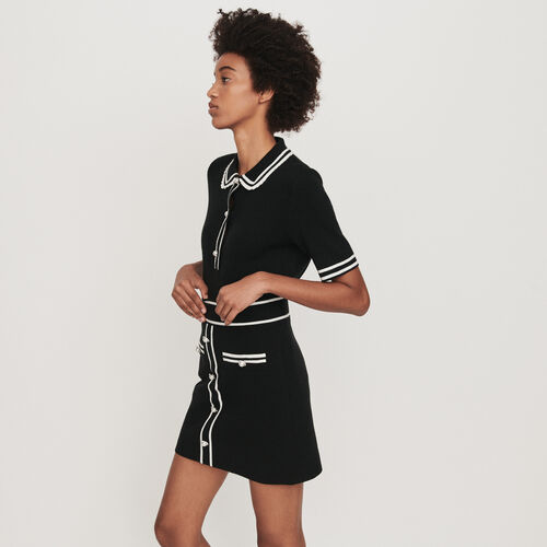 Strick Rock mit Schmuckstücken : Röcke & Shorts farbe Schwarz