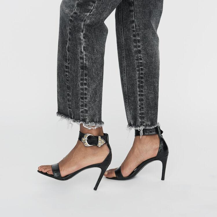 Krokodilleder-Sandalen mit Absatz : Pumps farbe Schwarz