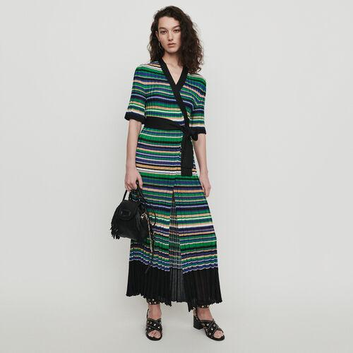 Langes Strickkleid mit Streifen : Kleider farbe Mehrfarbigen