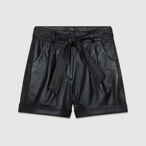 Oversize Leder-Short : Leder farbe Schwarz