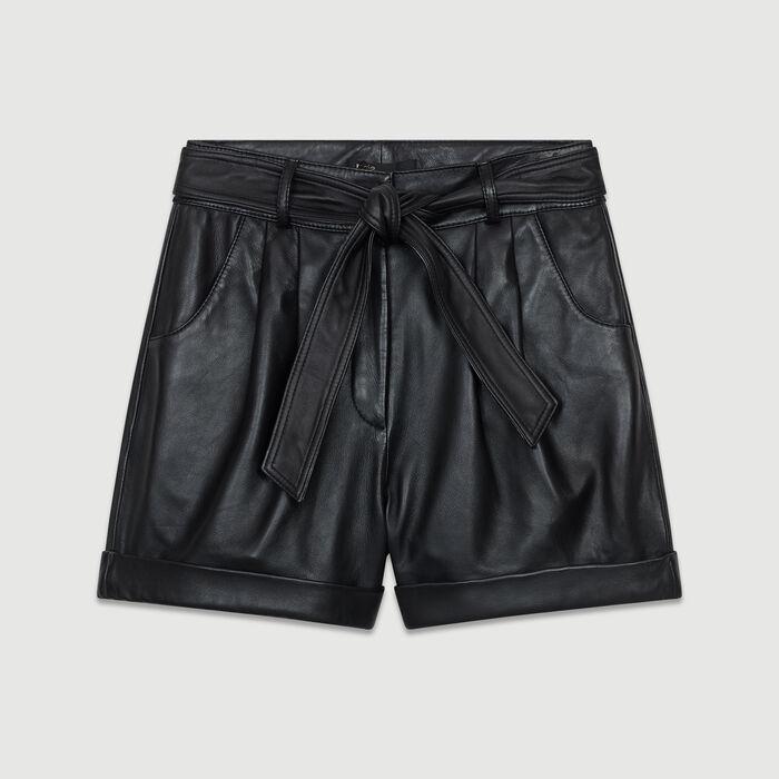Oversize Leder-Short : Bekleidung farbe Schwarz