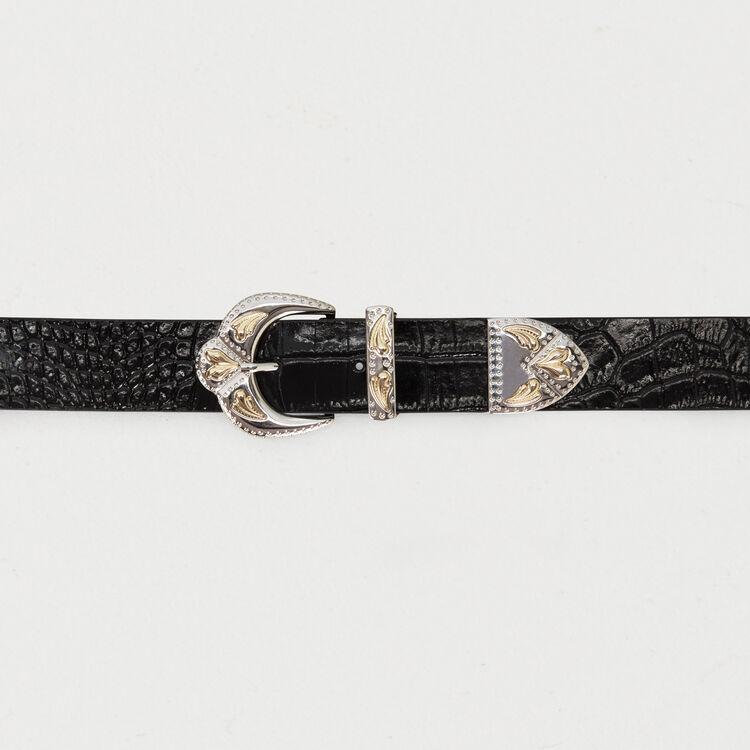 Krokodilledergürtel mit Doppelschnalle : Gürtel farbe Schwarz