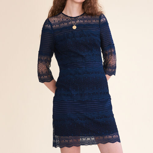 Kleid aus zweifarbiger Spitze : Kleider farbe Marineblau