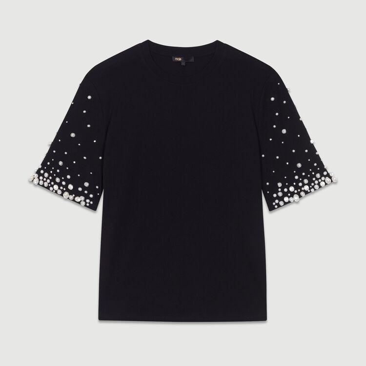 Baumwoll-T-Shirt mit Perlen : Neue Kollektion farbe Schwarz