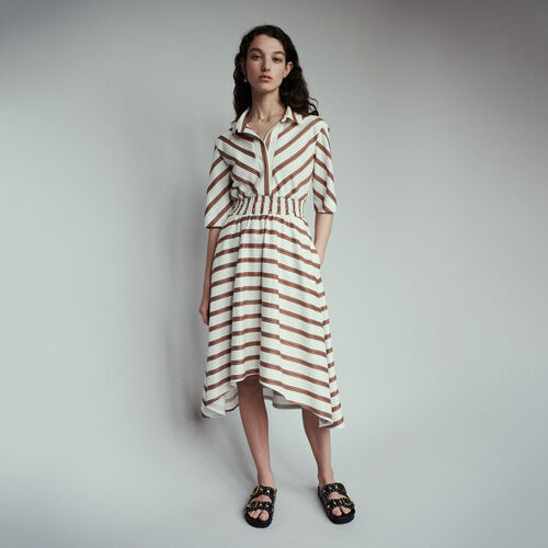 Langes Hemdkleid mit Streifen : Kleider farbe Gestreift