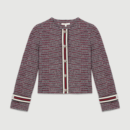 Jacke aus Tweed-Baumwolle : Blazers farbe Jacquard
