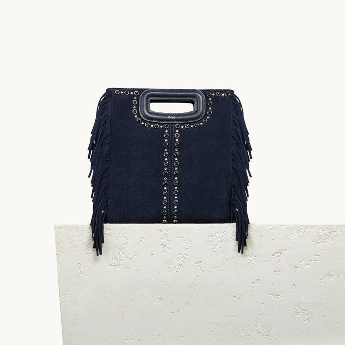 Tasche aus Veloursleder mit Nieten - Accesoires - MAJE
