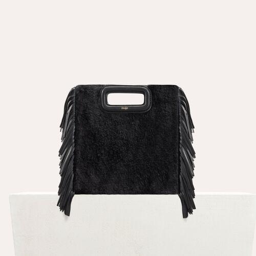 M-Tasche aus edlem Fell : Leder farbe Schwarz