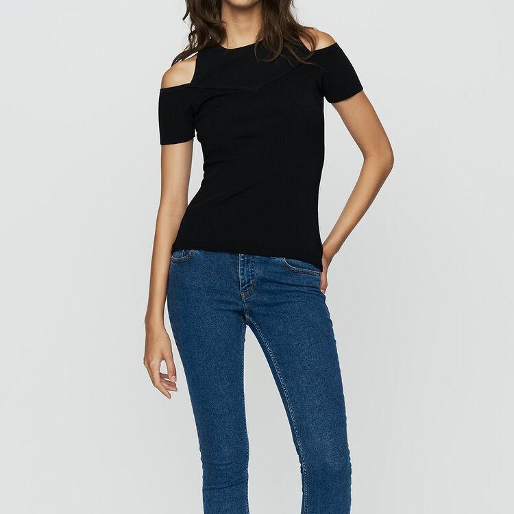 Schulterfreies T-Shirt : Strickwaren farbe Schwarz