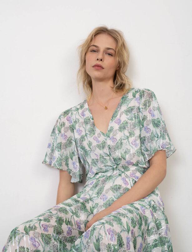 마쥬 원피스 MAJE Foulard-Kleid aus bedrucktem Musselin,Végétal Écru/Vert