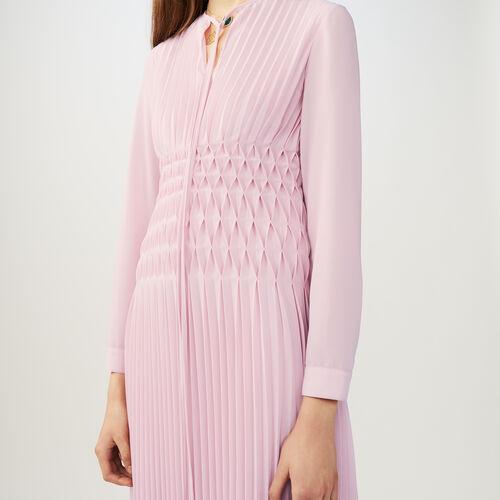 Ärmelloses Plissee-Kleid mit Rüschen : Kleider farbe LILA