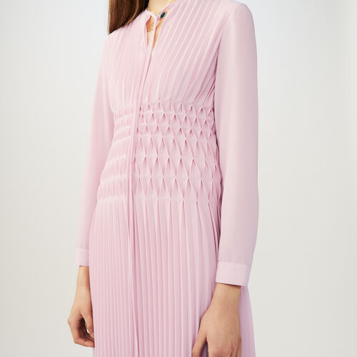 Langes Plissee-Kleid : Kleider farbe LILA