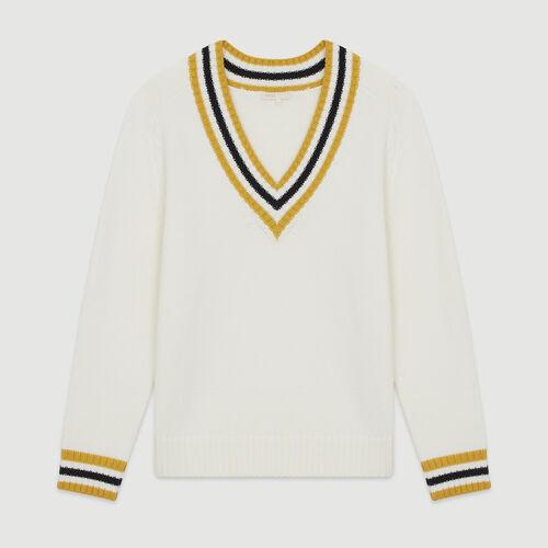 Pullover mit V-Ausschnitt und Bändern : Pullover & Strickjacken farbe Ecru