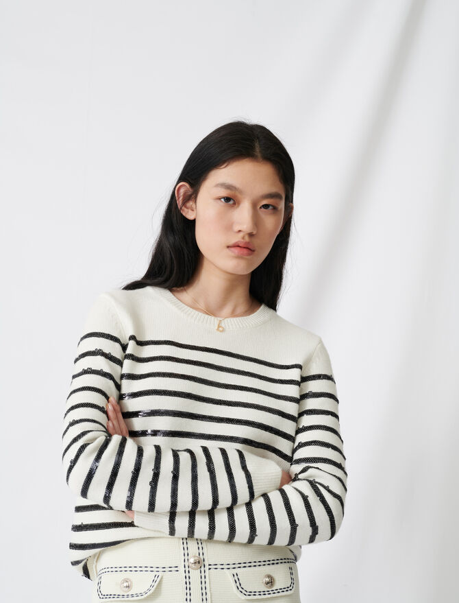 Pullover im Matrosenstil mit Pailletten - Pullover & Strickjacken - MAJE