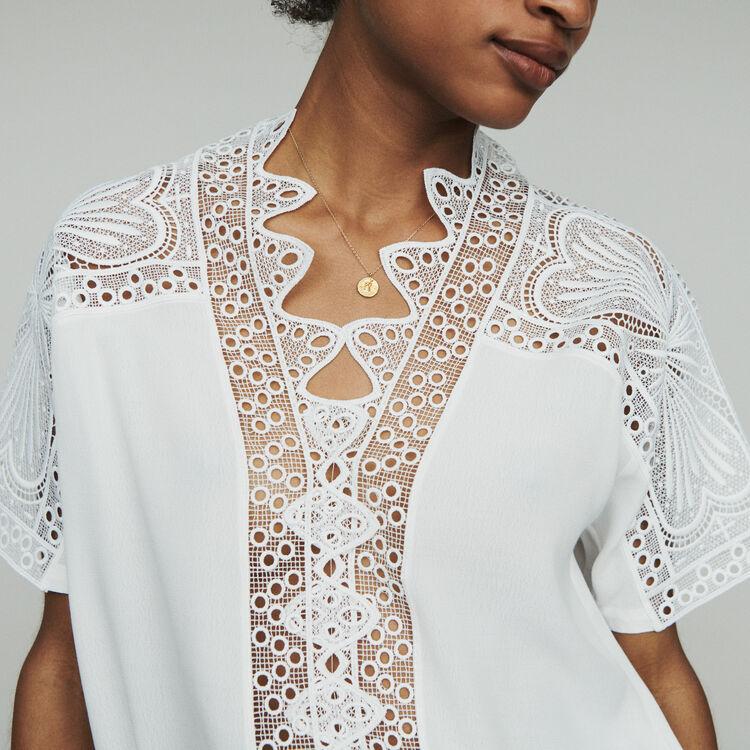 Guipure Top : Tops & Hemden farbe  Off-White