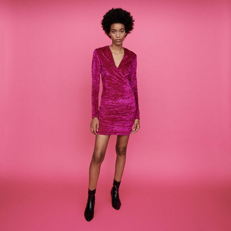 Wickelkleid aus Velour : Kleider farbe Rosa