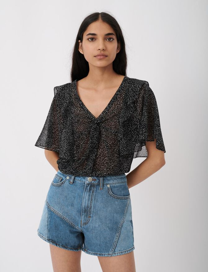 Jeansshorts mit Patches -  - MAJE