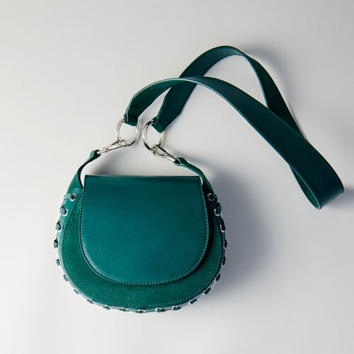 Laceup leather and suede Gyps handbag : Winter Kollektion farbe VERT