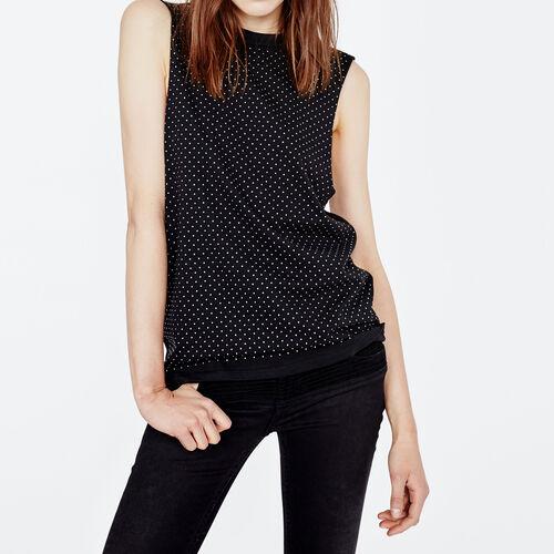 Ärmelloses t-shirt mit nietenbesatz : T-shirts farbe Schwarz