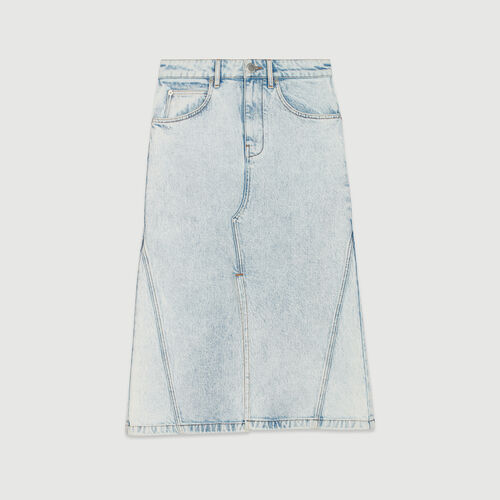 Langer Jeansrock im Used-Look : Röcke & Shorts farbe Denim